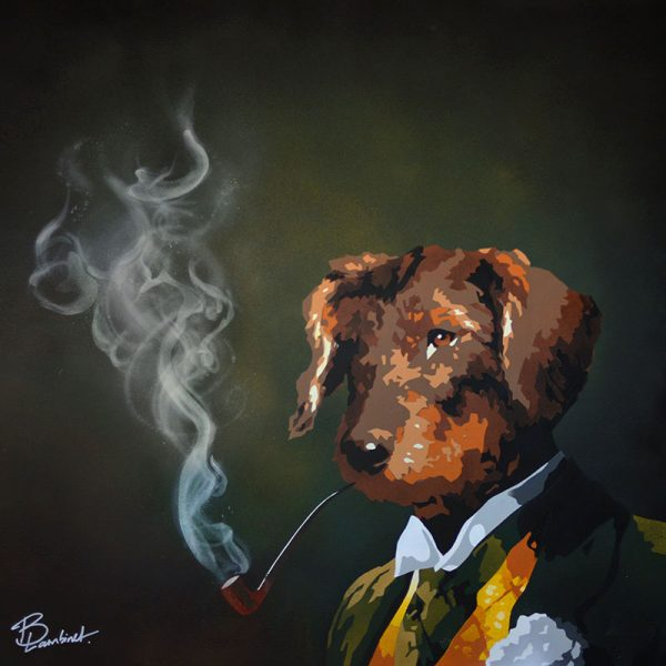 Peinture Dog with a Pipe - apercu